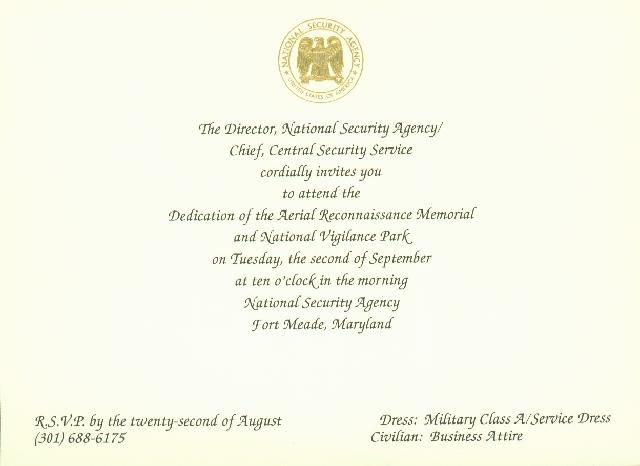 Official Invitation To Nsa Aerial Reconnaissance Memorial